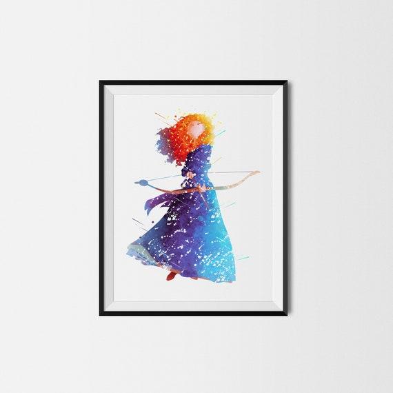 Merida Disney Princess Brave A3 Digital Watercolour Splash Effect Poster Print