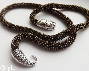 green snake necklace, witch jewelry, statement green necklace, Serpent necklace, wiccan necklace, 21th birthday gift, best friend gift