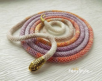 snake jewelry gift idea native american inspired necklace bead crochet necklace tribal necklace ethnic necklace orange unique gift for her
