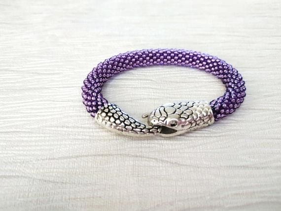 Snake bracelet for womans or mens Beaded bracelet serpent Silver ouroboros bracelet