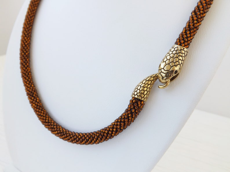 Snake Jewelry Brown Statement Necklace Choker Necklace Snake Necklace Ouroboros Necklace Coffee Brown Necklace Long Necklace Gothic Necklace