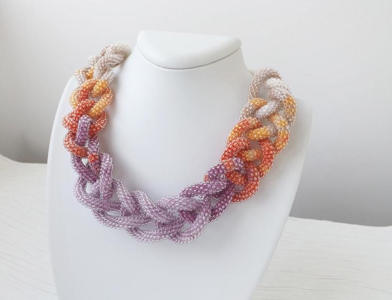 Statement Purple Necklace Boho Bridal Beaded Necklace Birthday image 1