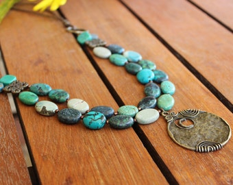 Statement turquoise necklace, Turquoise boho necklace,Turquoise long necklace,Turquoise gemstone necklace,Bohemian necklace