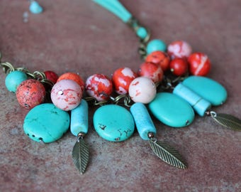 Turquoise boho necklace, Turquoise beaded necklace, Bohemian colorful necklace,  Statement turquoise necklace, Turquoise gemstone necklace
