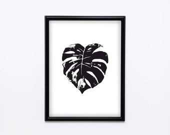 Black and white monstera leaf print, Instant download, Home decor, Printable wall decor, Modern art, Swiss cheese plant, Digital download