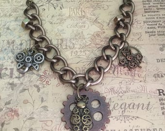 Steampunk Necklace Steampunk Gear Jewelry Large Link Necklace Steampunk Jewelry  Bug Charms  Necklace Hex Nut Jewelry Gear Necklace