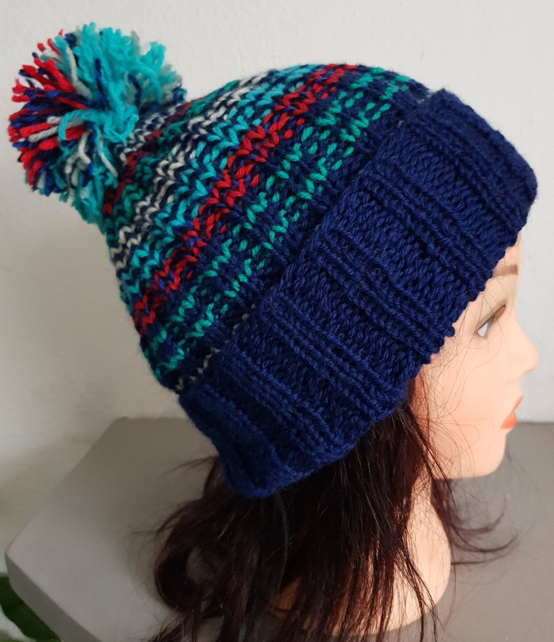 93bea313d12 Hand Knit Multi Color Unisex Hat Wool Mix With Pom Pom In Blue