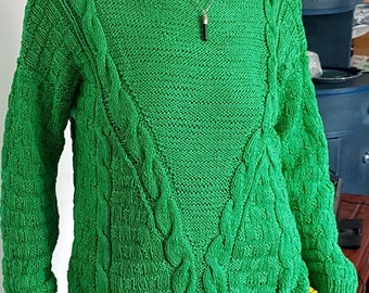 Stunning New Lime Green  Hand Knitted Ladies Cotton Jumper size M/L