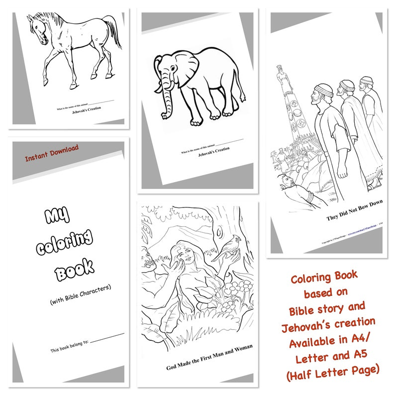 JW Printable- Bible Story Coloring Book , JW Kids, Family worship, Gift  Ideas, JW Kids Gifts ***. Instant Download.