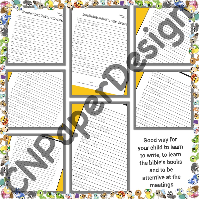 Printable JW Kids 7 Activities pages for kids in English  Trace bible's  books Name ******* Instant Download