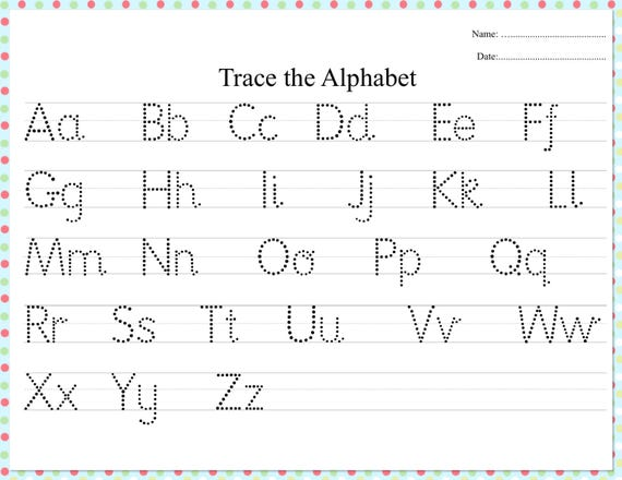 dotted alphabet trace practice worksheet etsy. Black Bedroom Furniture Sets. Home Design Ideas