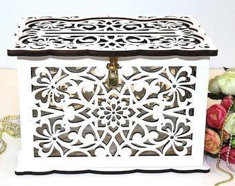 WEDDING MONEY BOX, Wedding Card Box With Lock, Wedding Card Holder, Wedding Gift Card Box, Wooden Money Box, Wedding Keepsake Box