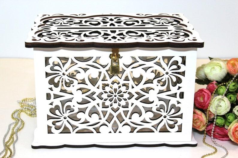 WEDDING MONEY BOX Wedding Card Box With Lock Wedding Card image 0