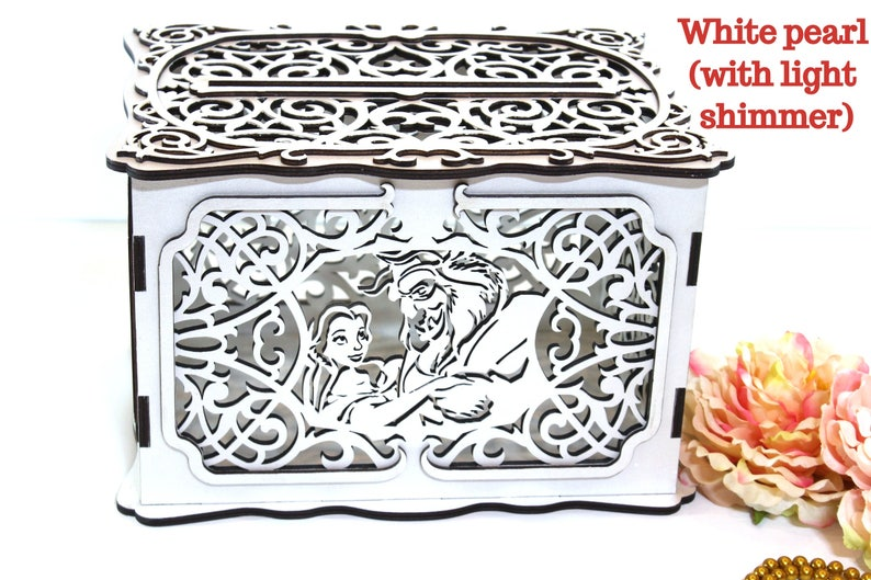 Disney Wedding Card Box With Lock Slot Fairy Tale Money Beauty And The Beast Holder Gift Keepsake