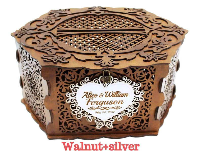 Wedding Card Box With Lock Personalised Wedding Money Box Wedding Card Holder Wooden Wedding Gift Wedding Keepsake Box Hexahedron Hexagon