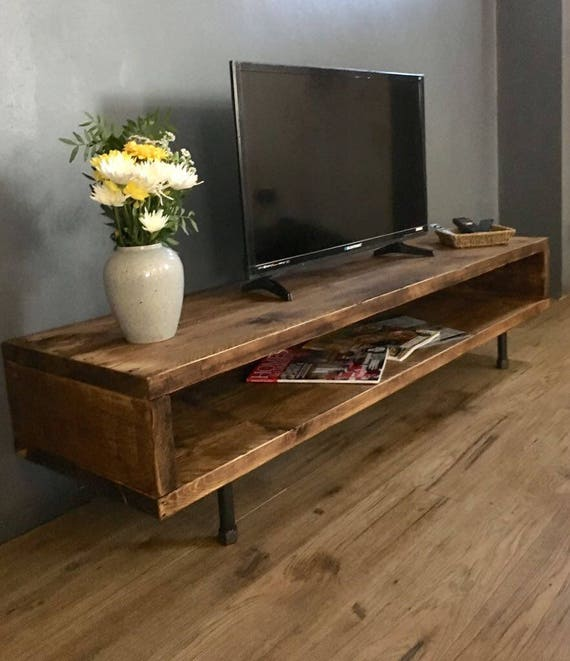 Reclaimed Wood Tv Stand Cabinet 37cm High Etsy