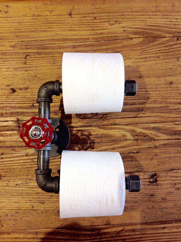 porte rouleau de papier toilette industriel chic twin etsy. Black Bedroom Furniture Sets. Home Design Ideas
