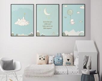 Lot De 3 Affiches Bébé Ours, Affiche Bébé Ours Et Lune, Décoration  Nordique, Design Scandinave,Déco Bébé,Imprimable Chambre Enfant