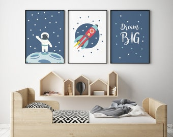 3 Space Rocket Prints,Moon Illustration,Nursery Wall Art, Nursery Space  Decor, Scandinavian Art Print, Kids Room Decor,Baby Room Decoration