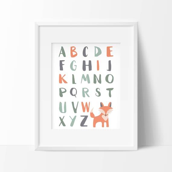 Affiche Alphabet Renard à Imprimer Affiche éducative Déco Renard Déco Enfant Renard Décoration Chambre Enfant Déco Chambre Bébé Renard