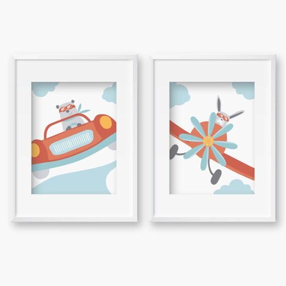 2 Affiches Voiture de course et AvionDeco chambre bébé | Etsy