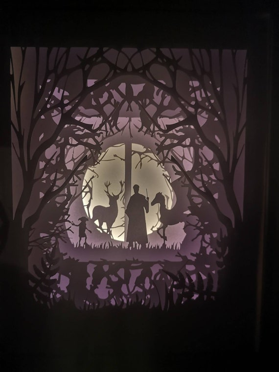 The Forbidden Forest.... Harry Potter inspired Light up Shadow Box Lightbox Papercut Artwork