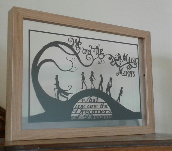 We are the Music Makers, We are the Dreamers of Dreams - Willy Wonka inspired - Paper Cut in Floating Frame
