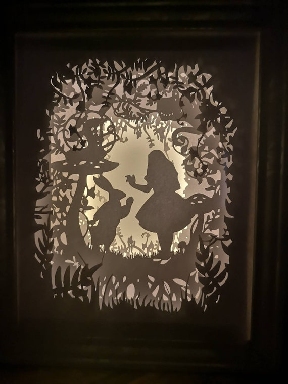 Curiouser and curiouser.... Alice in Wonderland inspired Light up Shadow Box Lightbox Papercut Artwork