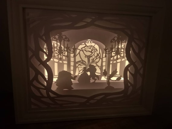 Tale as Old as Time....Beauty and the Beast inspired Light up Shadow Box Lightbox Papercut Artwork