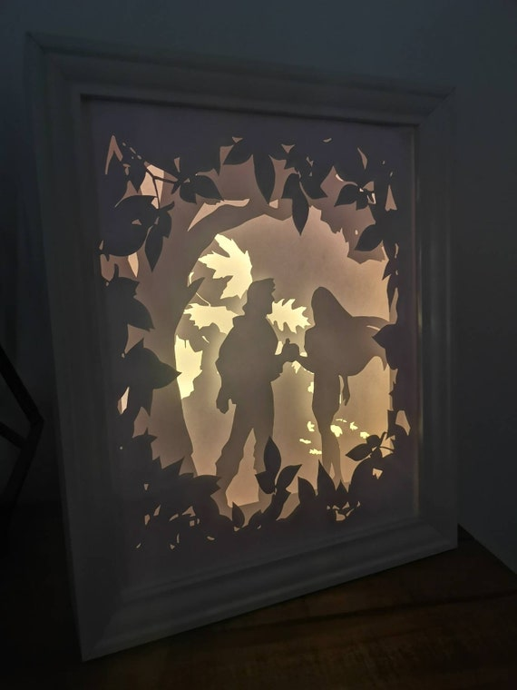 Paint With All The Colours Of The Wind....Pocahontas inspired Light up Shadow Box Lightbox Papercut Artwork
