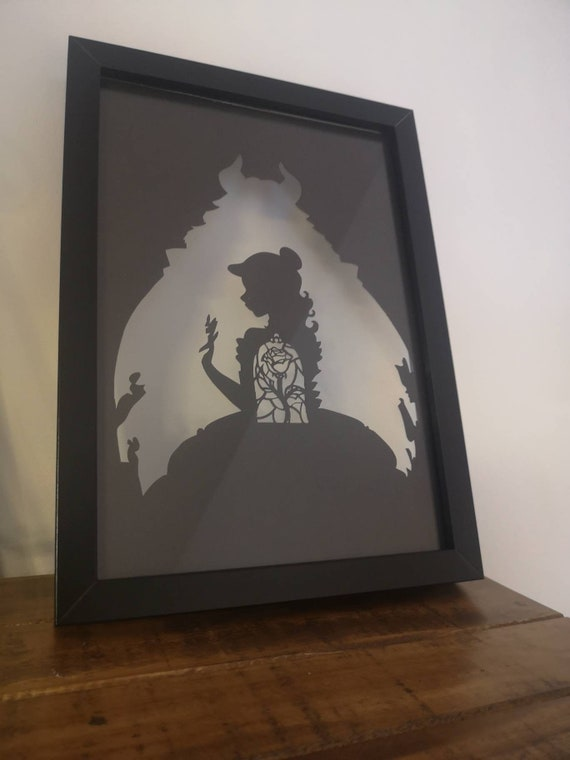 Beauty and the Beast Inspired - Paper Cut in Floating Frame