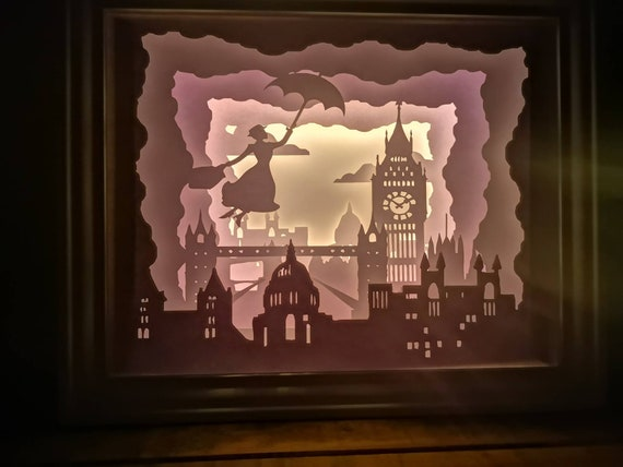 Practically Perfect in Every Way.... Mary Poppins inspired Light up Shadow Box Lightbox Papercut Artwork