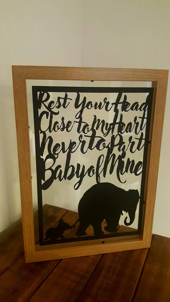 Baby of Mine.....Dumbo Inspired Paper Cut in Floating Frame