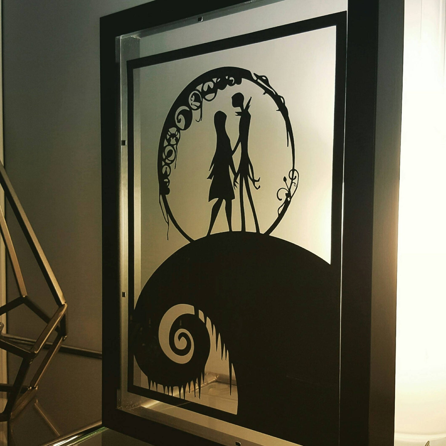 Nightmare Before Christmas Inspired Paper Cut In Floating Frame