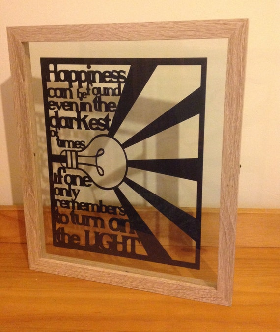 Happiness Can Be Found - Harry Potter inspired  - Paper Cut Layered in Floating Frame