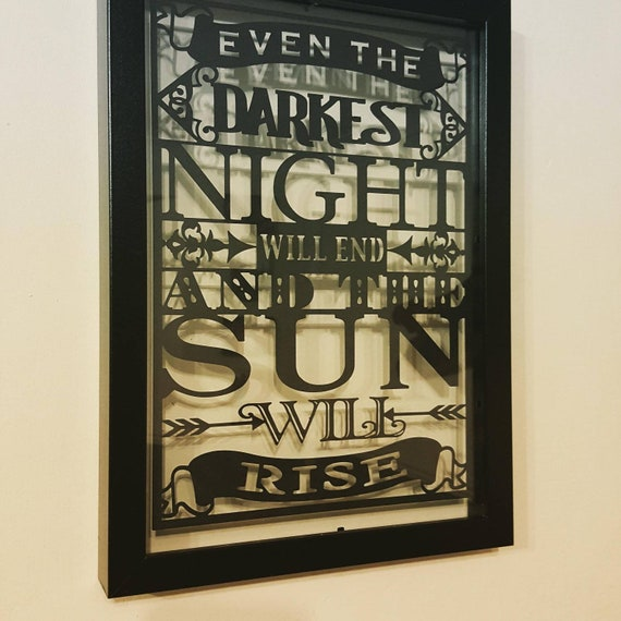 Even the Darkest Night Will End - Les Miserables Inspired - Paper Cut in Floating Frame