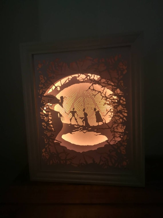 The Tale of the Three Brothers....Deathly Hallows inspired Light up Shadow Box - LARGE - NEW