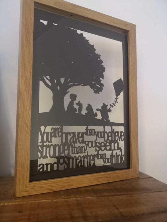 You are Braver than you Believe - Winnie the Pooh inspired papercut