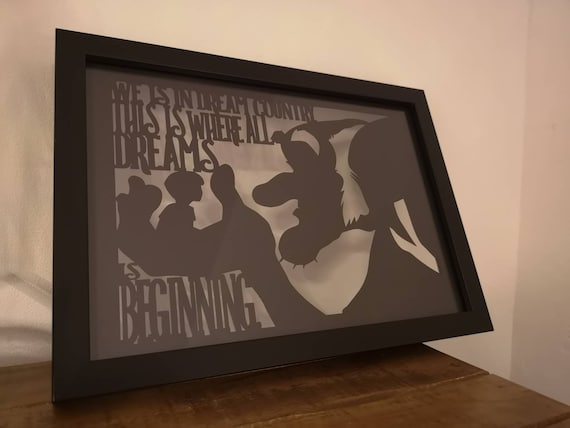 Dream Country - BFG - Roald Dahl quote - Paper Cut in Floating Frame