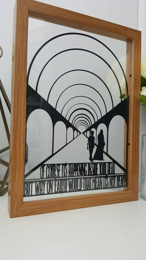 Of course it's happening in your head - Harry Potter inspired Paper Cut in Floating Frame