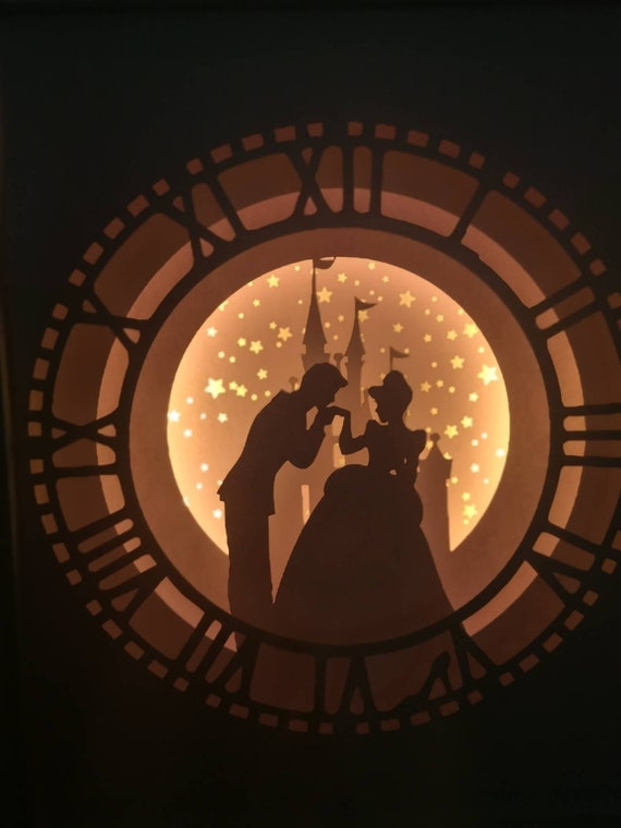 A Dream Is A Wish Your Heart Makes.... Cinderella inspired Light up Shadow Box Lightbox Papercut Artwork