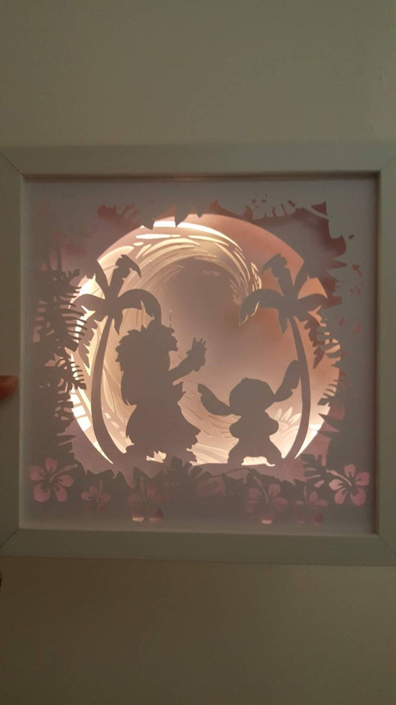 Ohana Means Family.... Lilo and Stitch inspired Light up Shadow Box