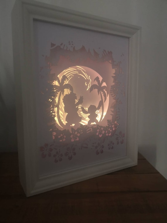 Ohana Means Family.... Lilo and Stitch inspired Light up Shadow Box Lightbox Papercut Artwork