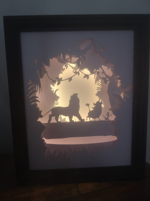 Hakuna Matata.... Lion King inspired Light up Shadow Box Lightbox Papercut Artwork