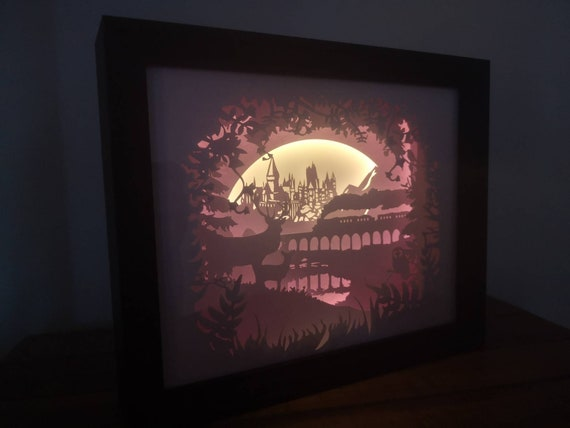 Welcome to Hogwarts.... Harry Potter inspired Light up Shadow Box Lightbox Papercut Artwork
