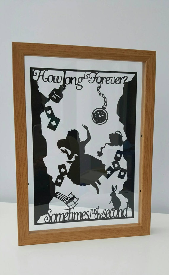 How Long Is Forever? Alice in Wonderland Inspired  - Paper Cut in Floating Frame