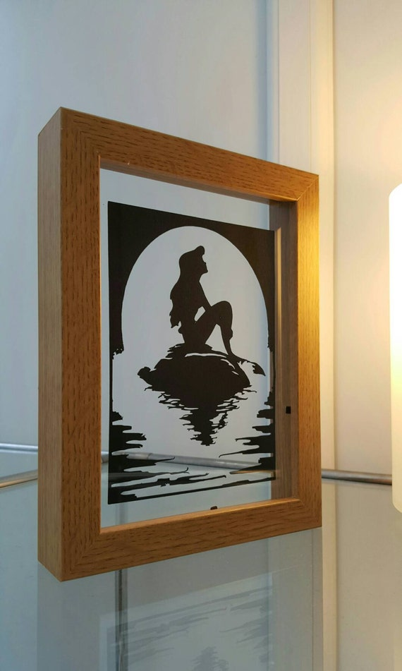 The Little Mermaid Inspired - Paper Cut in Floating Frame - A4