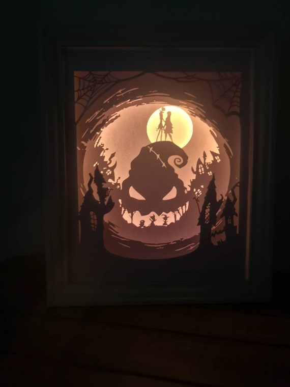 For It's Plain To See We're Simply Meant To Be... Nightmare Before Christmas inspired Light up Shadow Box Lightbox Papercut Artwork