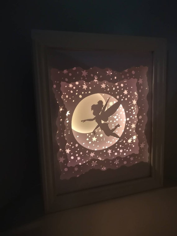 Think Happy Thoughts - Tinkerbell and Peter Pan inspired Light up Shadow Box