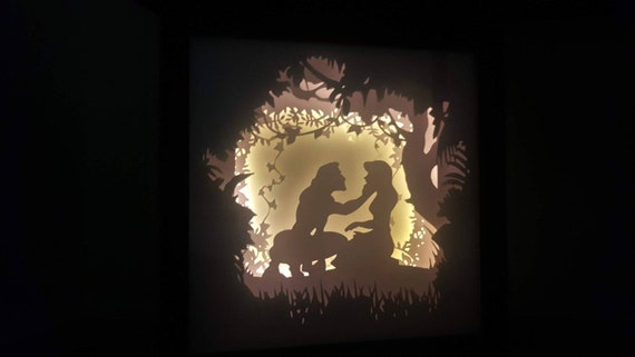 Trust Your Heart, Let Fate Decide.... Tarzan inspired Light up Shadow Box